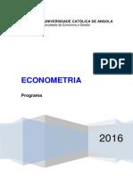 ECONOMETRIA -Programa 2016_ Nocturno