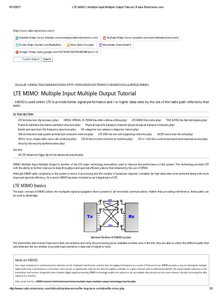 Lte mimo multiple input multiple output tutorial radio lte mimo multiple input multiple output tutorial radio electronics mimo multiplexing baditri Gallery