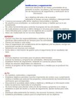 Planificacion y Organización