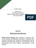 Unit III Sliding Contact Bearing