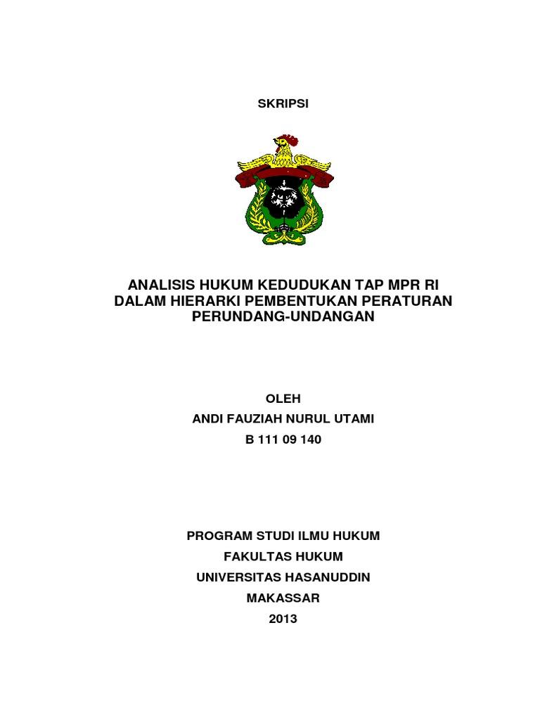 Analisis Hukum Kedudukan Tap Mpr Ri Dalam Hierarki ...