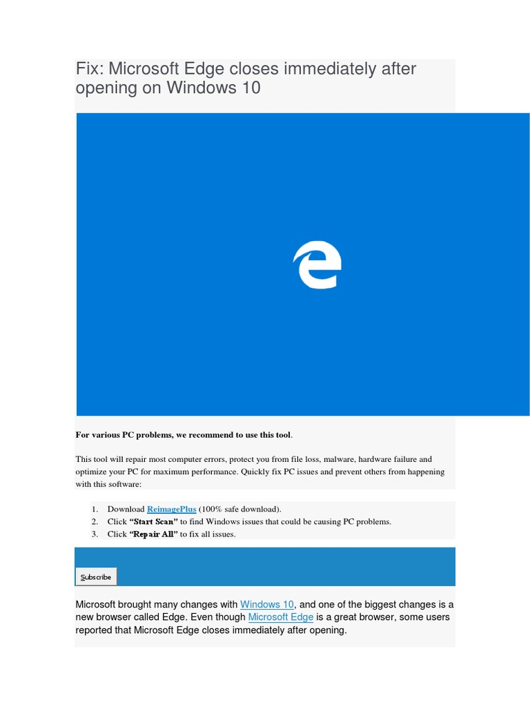 Microsoft edge | Windows 10 | Windows Registry
