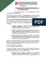 Comunicado Sobre Las MC Ejecutadas 06.07.2017
