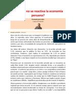 Por Qué No Se Reactiva La Economía Peruana