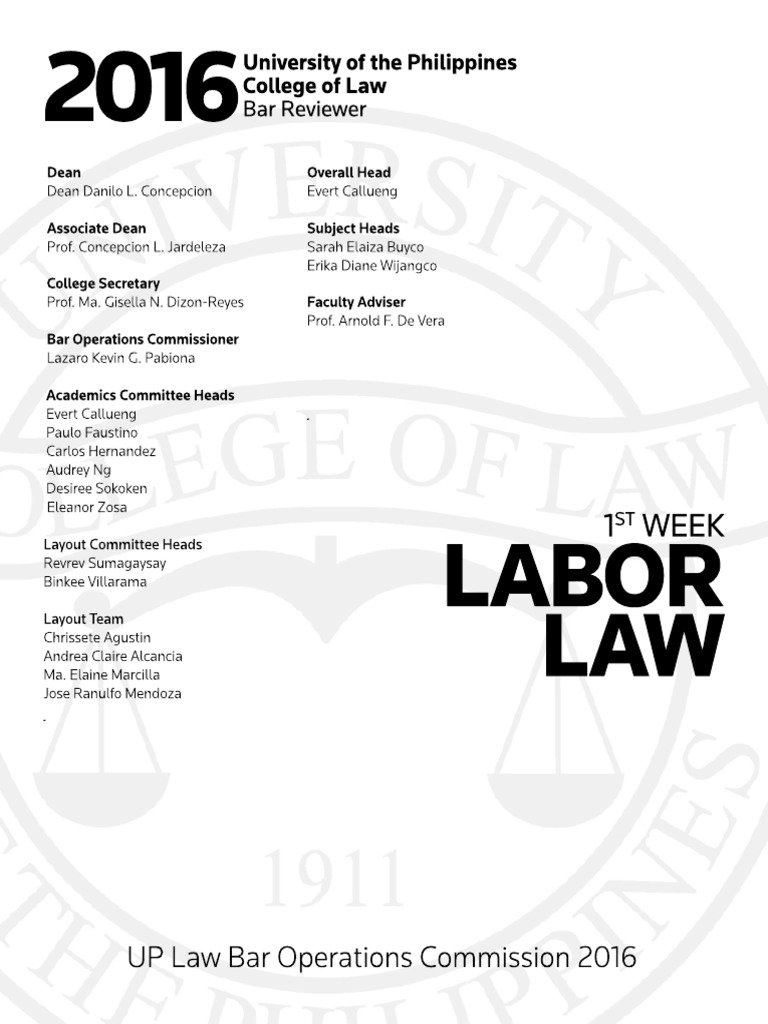 UP_LAW_BOC_LABOR_2016_2 pdf | United States Labor Law