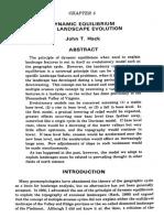 Dynamic Equilibrium and Landscape Evolution