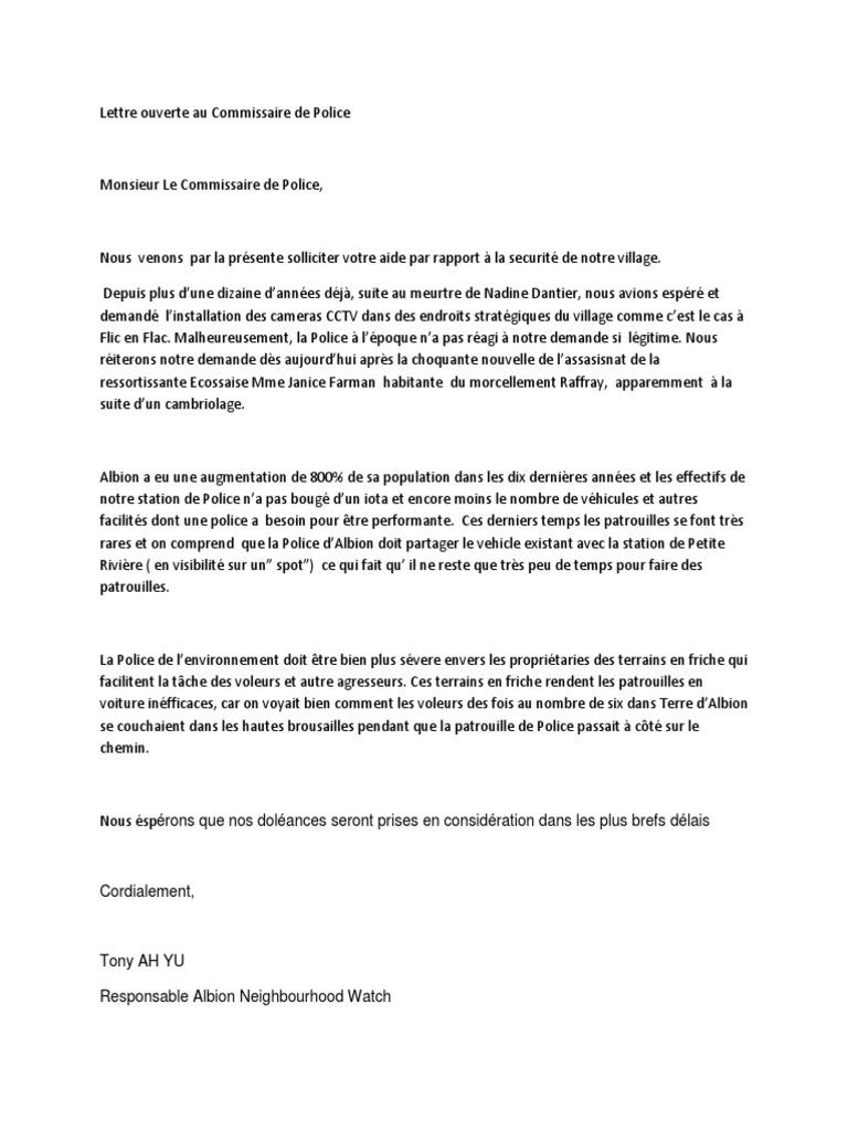 Lettre ouverte au commissaire de police - Grille de salaire commissaire de police ...