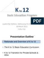 DepEd Presentation on K to 12_Handout