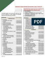 Emergency Room Nursing Knowledge & Skills Checklist