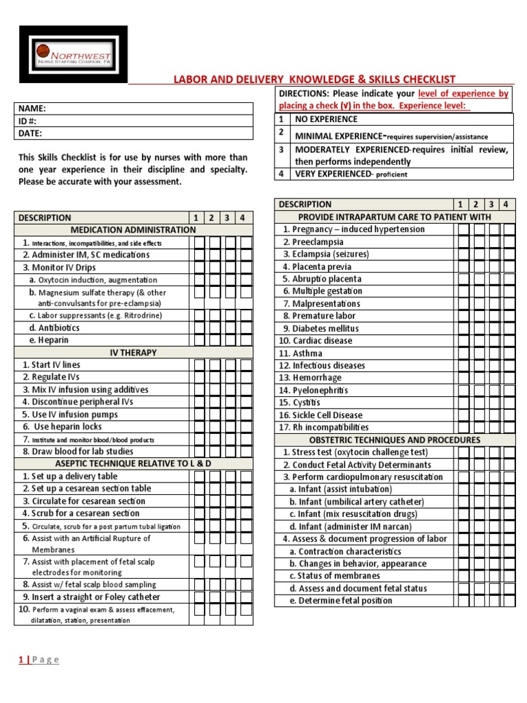 labor and delivery nursing knowledge skills checklist childbirth