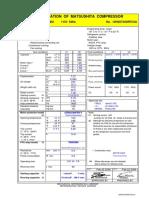 Matsushita DHS73C12RBU Compressor Spec Sheet