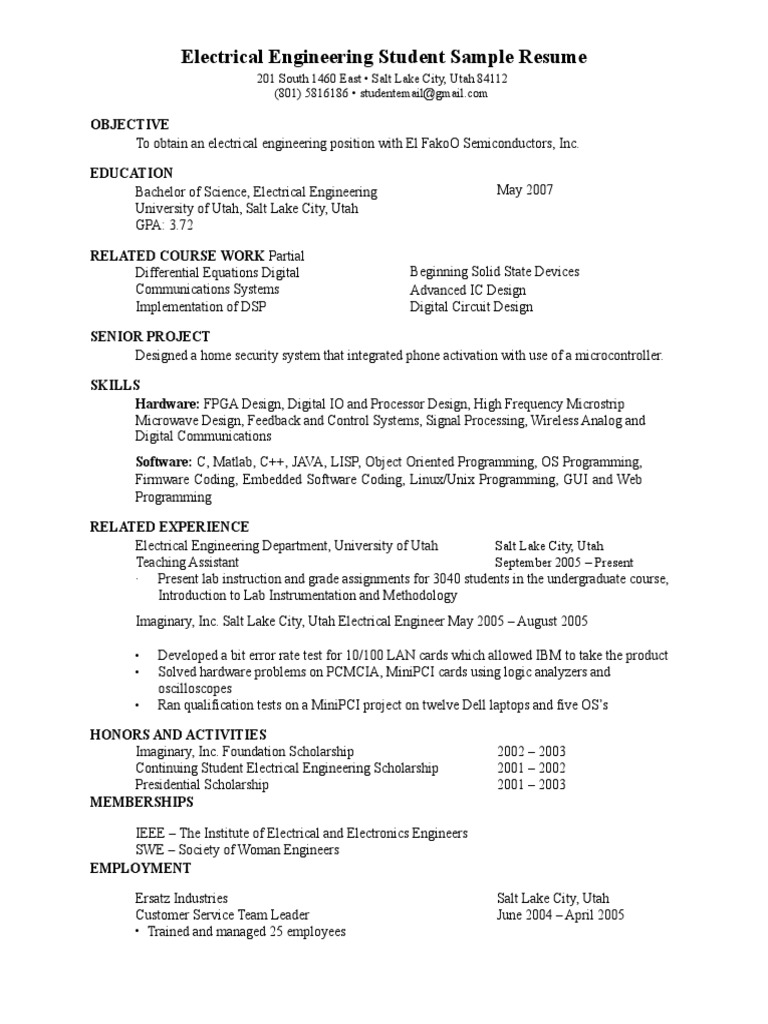 Electrical Engineer Fresher Resume PDF Download | Electrical ...