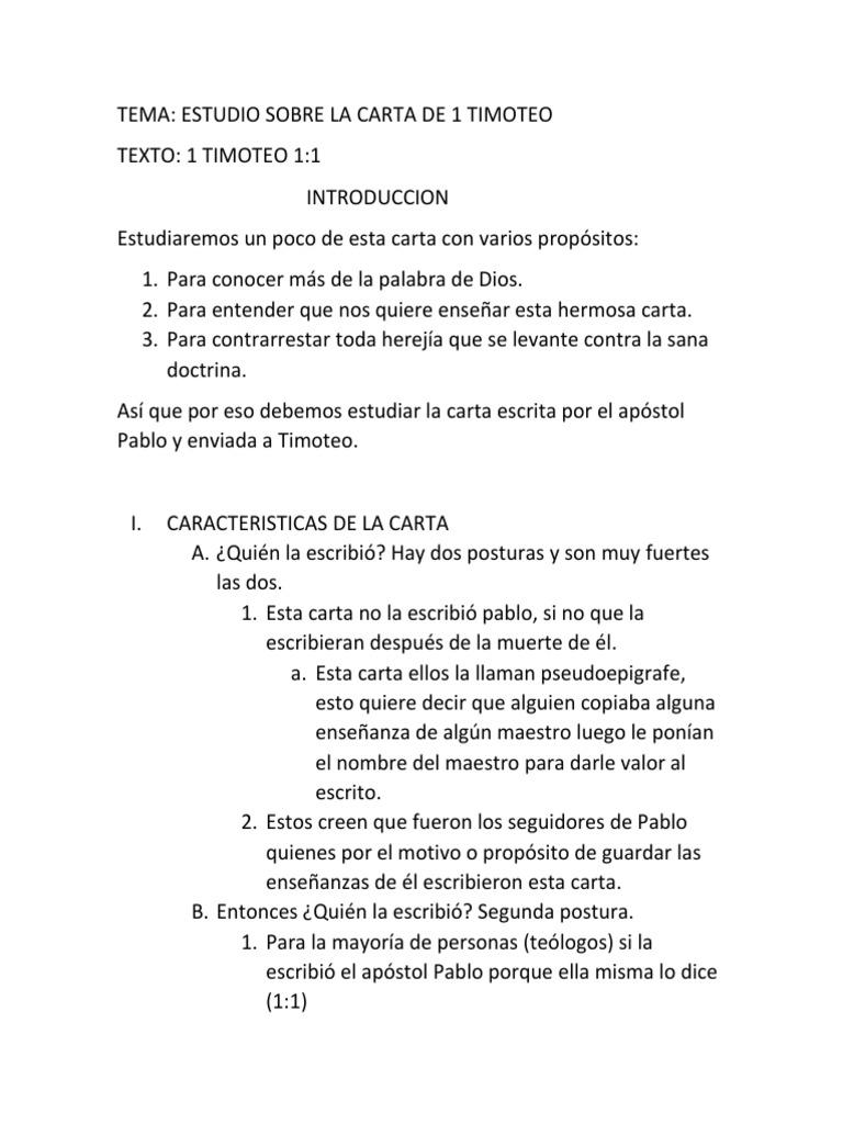 Introduccion A La Carta A 20 Timoteo   Pablo el apóstol ...