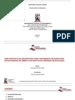 Proposta de arquitetura para tratamento de dados não estruturados no âmbito dos Institutos Federais de Educação (Apresentação)