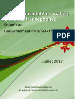Rapport du Comité consultatif en matière d'affaires francophones (Juillet 2017)