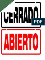 Formato para cartel de Abierto Cerrado