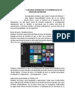 Características y Mejoras de Windows 10 a Diferencia de Sus Versiones Anteriores