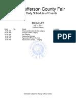 County Fair schedule