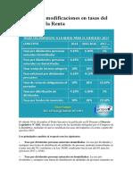 Principales Modificaciones en Tasas Del Impuesto a La Renta