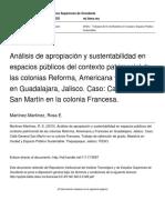 Análisis de Apropiación y Sustentabilidad en Espacios Públicos Del Contexto Patrimonial de Las Colonias Reforma, Americana y Francesa en Guadalajara Jalisco