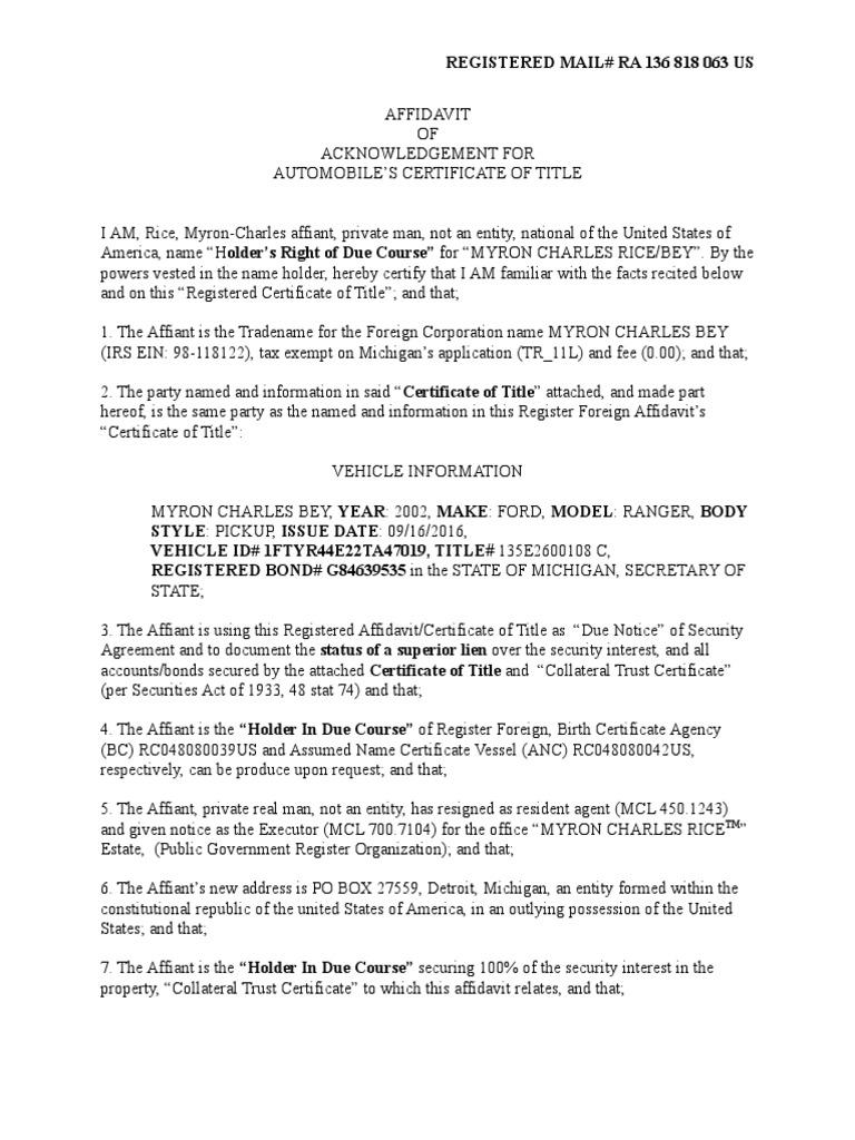 Automobile Certificate Of Titlec Trust Law Security Interest