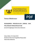 TOR Manajemen Pengelolaan Jurnal Dan Pelatihan Penggunaan OJS Kirim Ke Pembicara