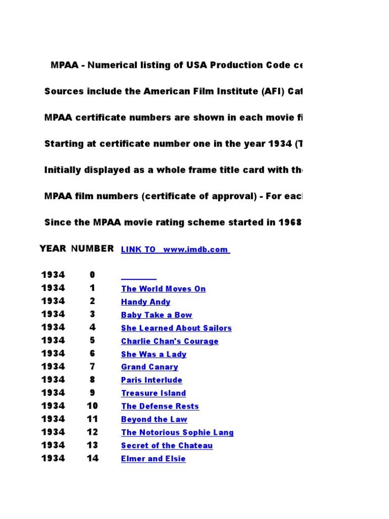 Mpaa Film Numbers 52000   Leisure 2a0730de8b