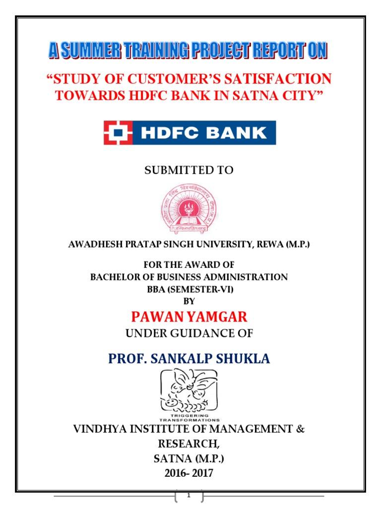 Study of Customer Satisfaction Towards Hdfc Bank | Reserve Bank Of ...