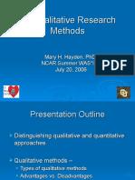 Qualitative Research Methods - Hayden