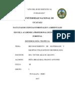 Reconocimiento de Materiales y Equipos Utilizados en Las Prácticas de Dendrología