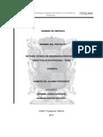 Portada de Memoria Profesional Para Titulacion Integral 2017