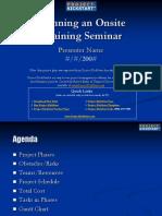 Project Kickstart Planning an Onsite Training Seminar Project