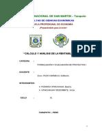 Cálculo-y-Análisis-De-la-rentabilidad, Semana 13,Formulacion y Evaluacion de Proyectos i, Ix Ciclo Economia