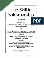 1905 Haddock the Will in Salesmanship