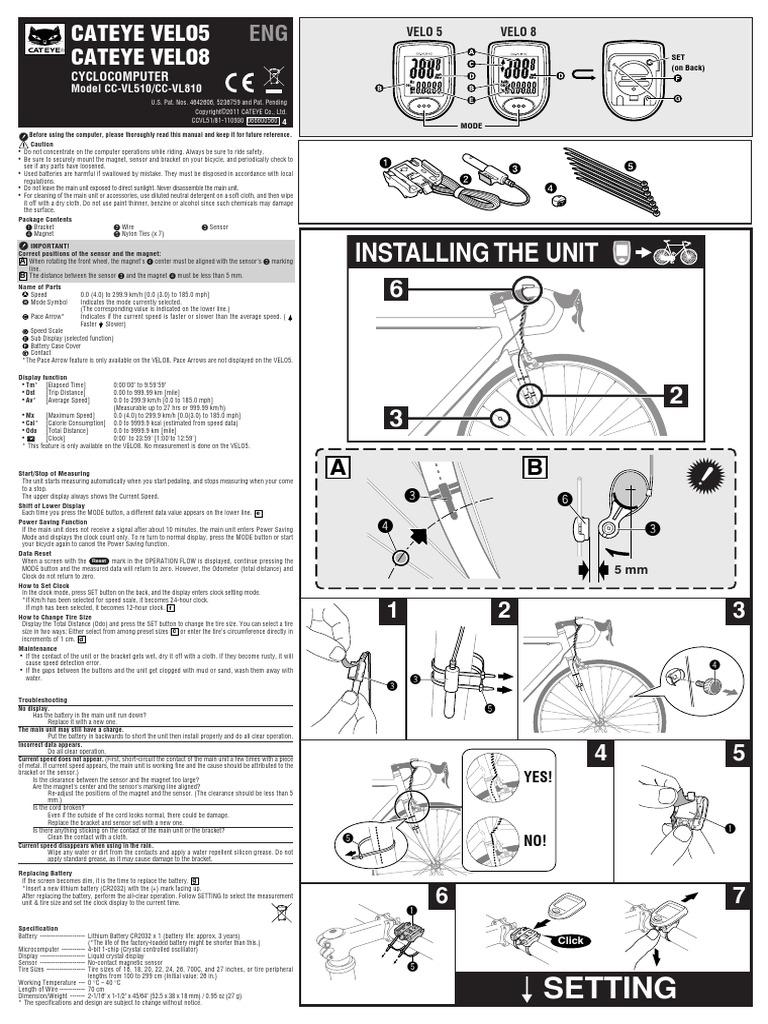 Cateye 8 User Manual Car Owners Manual