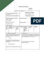 Certificado de Origen - En Blanco