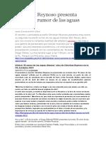 Christian Reynoso Presenta Novela El Rumor de Las Aguas Mansas