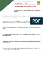 GUIA N° 13 EJERCICIOS DE  DISOLUCIONES
