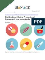 Ratification of Madrid Protocol and Bangladesh Pharmaceuticals