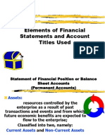 Elements of Financial Statements and Account Titles Used