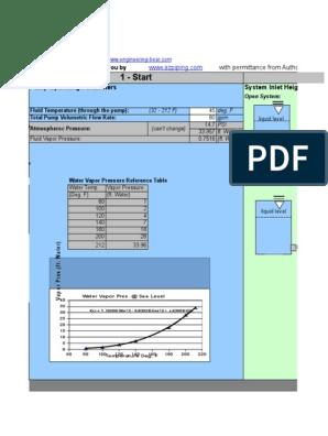NPSH Calculator xls | Pressure | Pump