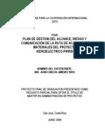 Plan de Gestion de Alcance , Riesgo de Proyecto Hidroelectrico