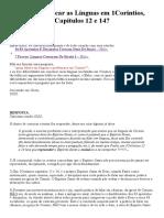 Como Explicar as Línguas Em 1Coríntios, Capítulos 12 e 14