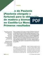 El Cultivo de Paulonia Pawlonia Elongata x Fortuneiem Para La Obtencion de Madera y Biomasa en Castilla La Mancha Primeros Resultados GF4