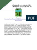 Direccion de La Produccion Y de Operaciones Decisiones Tacticas (8ª Ed.)