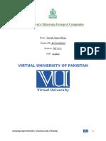 MGTi620 - Internship Report | Virtual University of Pakistan