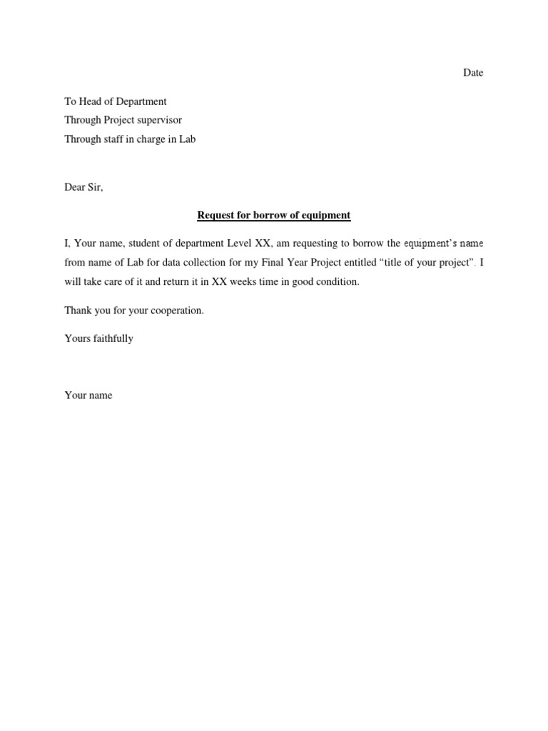 university sample permission letter to borrow equipment
