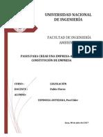 Monografía Constitucion de Una Empresa