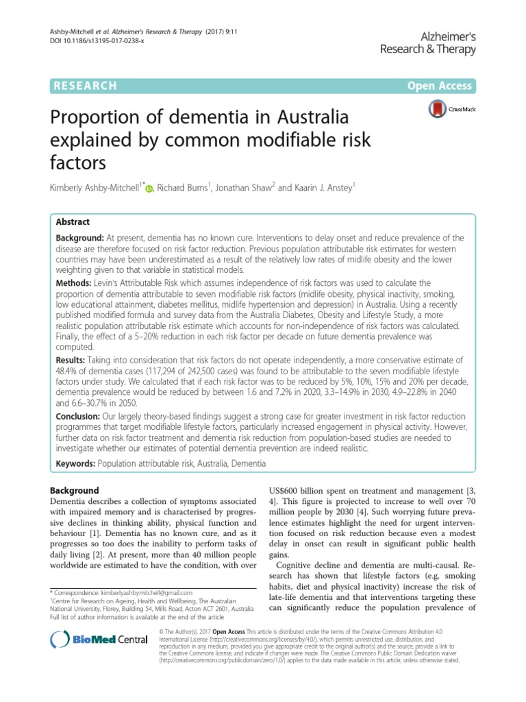 research paper on dementia