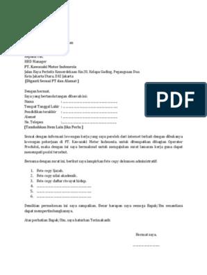 21++ Contoh Surat Lamaran Operator Produksi - Kumpulan ...